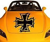 Auto Aufkleber Eisernes Kreuz Iron Cross Car Aufkleber Gothic Skull Auto 2P001, Farbe:Schwarz glanz;Hohe:40cm