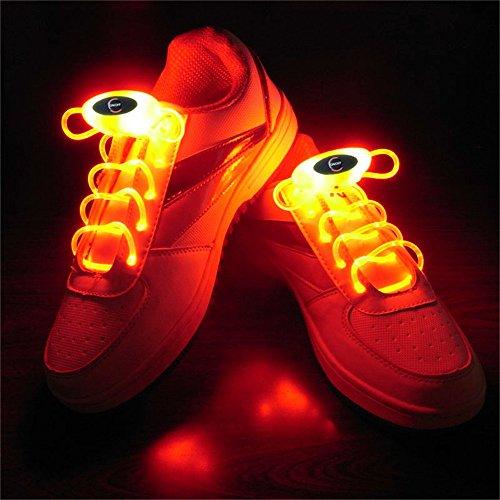DingXW Paar 80 cm Glow Schnürsenkel LED Sport Schnürsenkel Glow Stick Blinkt Neon Leuchtend Schnürsenkel Rot
