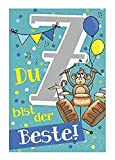 Depesche 5698.013 - Glückwunschkarte mit Musik, 7. Geburtstag, türkis