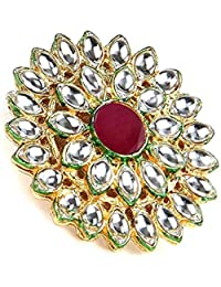 Yellow Chimes Kundan Cocktail Traditional Gold Plated Ring for Women (Red)(YCTJRG-05KUND-RD)