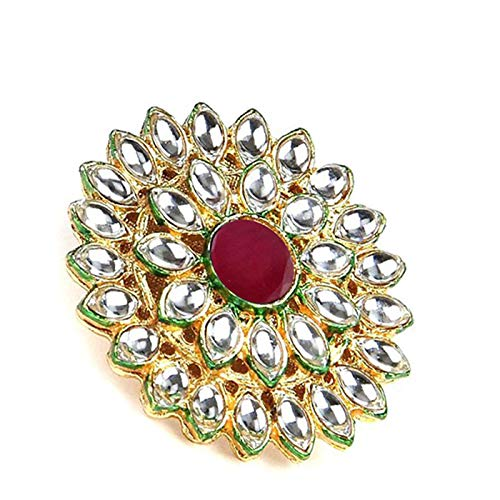 Yellow Chimes Traditional Ethnic Kundan Studded Gold Plated Cocktail Kundan Rings for Women & Girls