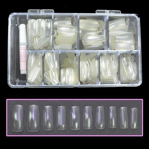 BF nouvelles astuces professionnel ongles clairs avec boîte de pointe & de colle pour les Extensions d'ongles Nail Art Display (moitié conseils - 100pcs)