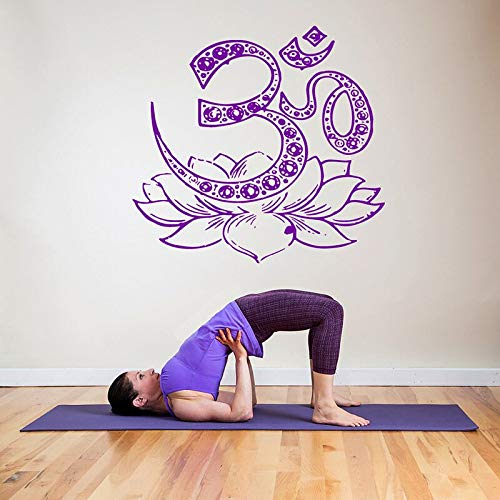 Vinyl Kunst wandaufkleber om Symbol Yoga Lotus Blume abnehmbare Aufkleber Schlafzimmer Wohnzimmer Dekoration artposter 42 * 44 cm