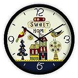 FAH Wanduhr Industrie, Wohnzimmer Wandkarten Stumm Uhr Cartoon Modus Kind Haus Moderne und einfache Uhr Quarz Wanduhr,12 Inches Black Border