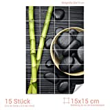 Graz Design 761558_15x15_50 Fliesenaufkleber Bambus/Massagesteine | Bad-Fliesen mit Fliesenbildern überkleben (Fliesenmaß: 15x15cm (BxH)//Bild: 50x75cm (BxH))