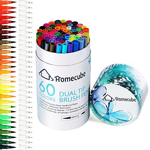 Pinselstift Set mit zwei Spitzen - Homecube Aquarellstifte Aquarell Wasserfarben Effekt 60 Farben...