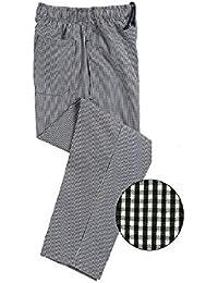 Chef pantalones, negro y blanco a cuadros pequeños cuadros, de pata de impresión, ins01h