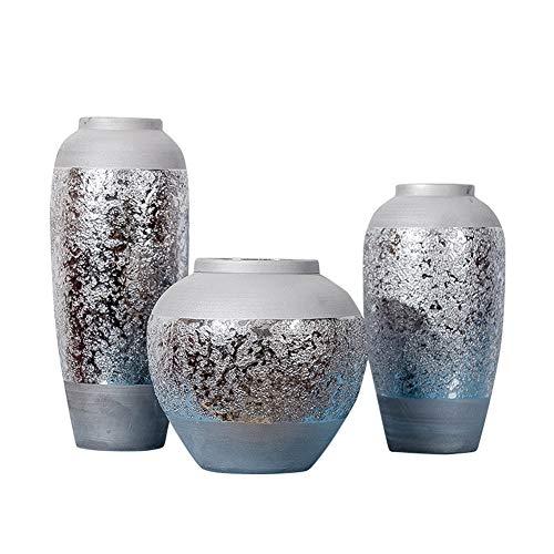 Keramikvase, modernes europäisches Schneeflocken-Design, galvanisiert, silberfarben, Material, 4, Large - Weiße Vaseline Gelee