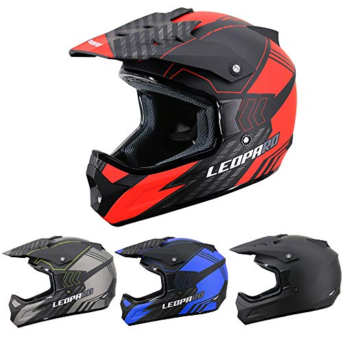 Leopard LEO-X307 Fullface Helm Motocrosshelme Integralhelm Motorradhelm Damen und Herren ECE Genehmigt Matt schwarz/Rot M (57-58cm)