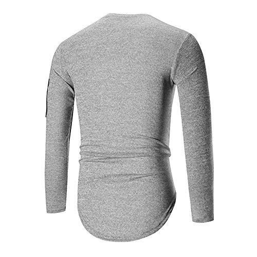 Veravant Herren T-Shirt Lang Sweatshirt Rundhals Ausschnitt Kurzarm Top Basic Shirt Crew Neck Vintage Hellgrau
