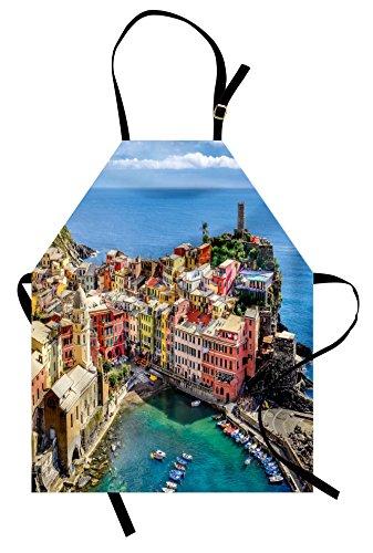 Delantal de Italia Lunarable, Harbor View in the Vernazza Village in Cinque...
