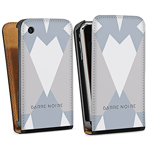 Apple iPhone 5 Housse étui coque protection Triangles Triangles Triangles Sac Downflip noir