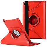 HereMore Huawei Mediapad T3 7 WiFi Hülle - Schlank 360 Grad Rotierend Kunstleder Schutzhülle Tasche mit Standfunktion für Huawei Mediapad T3 7 Zoll 17,78 cm WiFi Tablet BG2-W09 - Rot