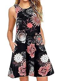 LMMET Vestito Donna Estivo Corto Casual Elegante Floreale Abito da Spiaggia  Fiori Mini Abiti Vestiti Donna Eleganti… 948ba97ba49