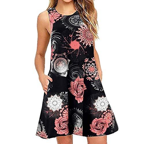 VEMOW Sommer Elegante Damen Frauen Lose Vintage Sleeveless 3D Blumendruck Bohe Casual Täglichen Party Strand Urlaub Tank Short Mini Kleid(X2-Schwarz, EU-42/CN-XL)