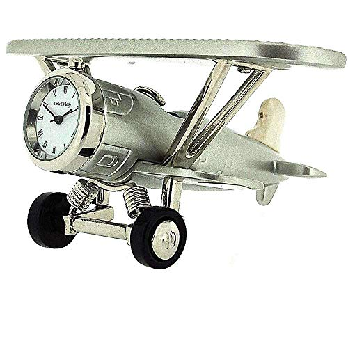 Horloge Miniature de Bureau de Collection en Forme d'avion Biplan Argenté