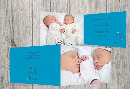 Kartenparadies Danksagung für Geburt Baby Dankeskarte Zwillinge Easy, hochwertige Danksagungskarte Baby inklusive Umschläge | 60 Karten - (Format: 148x105 mm) Farbe: Hellblauleuchtend