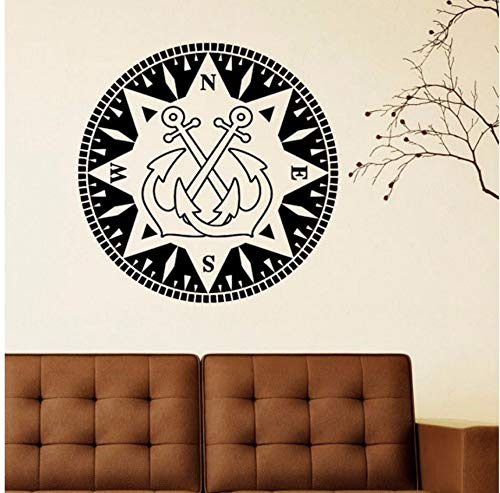 Lsfhb Nautical Anchor Wall Decal Vinyl Aufkleber-Kompass Nord Südwesten Osten Nautische Wandtattoos Abnehmbare Wand Kunst Pic Wandbild 40X40Cm (Halloween 3d Pics)