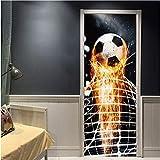 Haipeiy Türaufkleber Firing Fußball Durch Wandaufkleber Für Kinderzimmer Dekoration Abziehbilder Fußball Funs 3D Wandbild Kunst Sport Spiel PVC Poster 77X200 cm