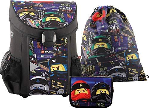 LEGO Bags Schulranzen Set Easy, 3 teilig, Ranzen nur 790 g, Schulset mit Lego Ninjago Motiv Urban, Büchertasche ca. 40 cm, 22 Liter