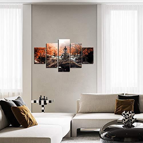 adgkitb canvas Cinque Pezzi Arancione Flusso Acqua Natura Buddha Arte della Parete Pittura Immagine Immagine Stampa su Tela Decorazione della casa No incorniciato