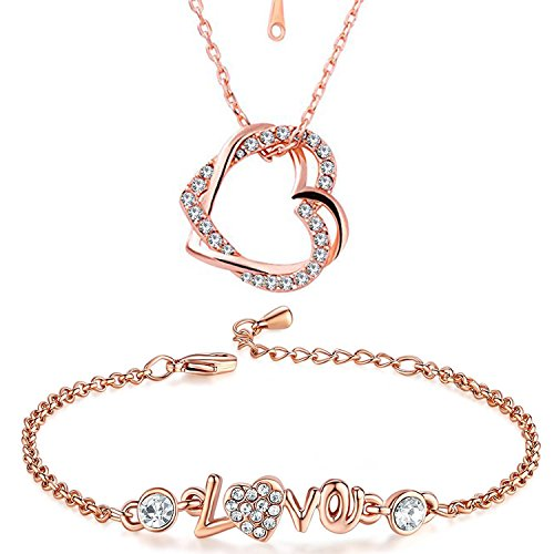Valentine Gift Om Jewells Rose Gold Valentine Jewellery Combo of Heart in Heart Pendant with LOVE Link Bracelet for Girls and Women CO1000086