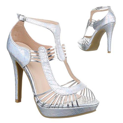 Damen Schuhe, F129, SANDALETTEN HIGH HEELS PUMPS PLATEAU Silber