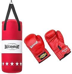 Bad Company Box-Set für Kinder und Jugendliche I Canvas Boxsack, gefüllt - inkl. Aufhängung I 8 OZ Boxhandschuhe I 68 x 25 cm – Rot
