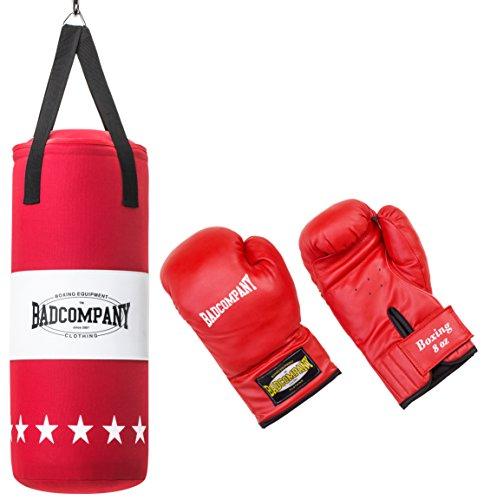 Bad Company Box-Set für Kinder und Jugendliche I Canvas Boxsack, gefüllt - inkl. Aufhängung I 8 OZ Boxhandschuhe I 68 x 25 cm - Rot