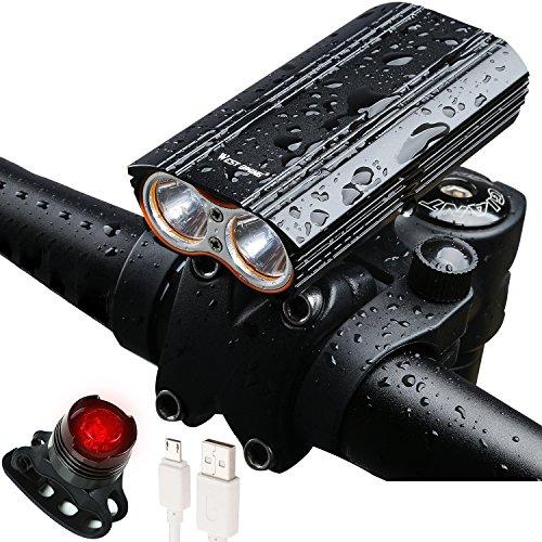 Fahrradlicht, West Biking USB wiederaufladbar 2000Lumen CREE X2LED Fahrrad Frontleuchte Scheinwerfer mit 2x 18650Akku Pack, wasserdicht Mountain Road Bike Licht, Herren, - Cree Akku Licht Fahrrad Pack Für