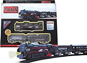 Skyzal Battery Operated Black Train Toy Set for Kids, Big Size Train Set for Kids | Bump and Go Musical Toy Train
