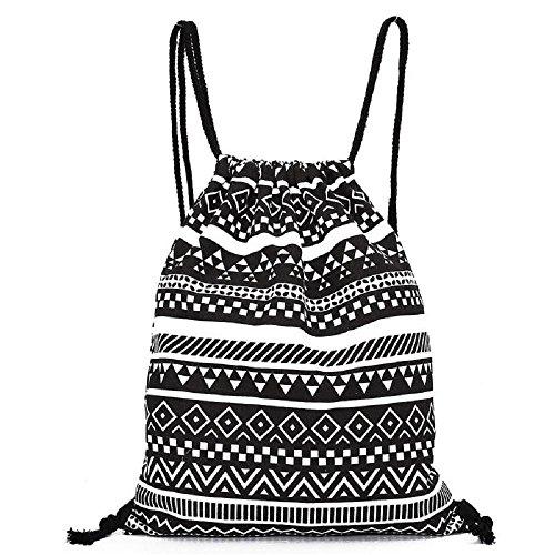 Damen Rucksack, VJGOAL Frauen Mädchen Unisex Retro Geometrische Segeltuch Rucksäcke Druck Taschen Kordelzug Reiserucksack Geschenke (34.5*40cm, Schwarz)