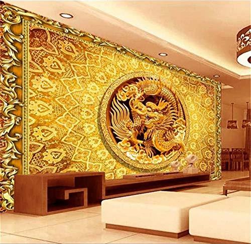 Rureng Papel Tapiz Fotográfico Personalizado En 3D Para Sala De Estar Mural Relieve Dragón De China Imagen En 3D Sofá Tv Fondo De Pantalla No Tejido Para Pared 3D-200X140Cm