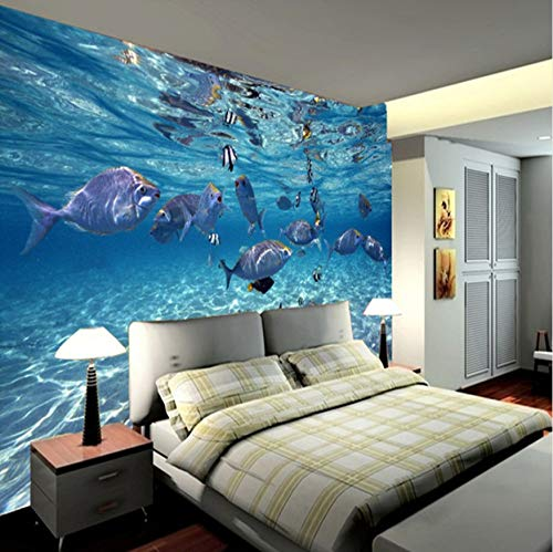 Wallpaper 3D Stereoscopic Ocean Wasser World Of Marine Fish Living Kinderzimmer TV Hintergrund 3D Wandbild-(W)350x(H)245cm Silk Cloth -