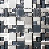 Mosaico de vidrio de acero inoxidable Azulejos de mosaico color mixto Art Deco acero inoxidable mosaico 300*300mm Cocina backsplash / ducha de pared de la pared de la pared / Hotel pasillo pared de la frontera / piso residencial de piso y aplicaciones de la pared SA168-5 (1 pieza)