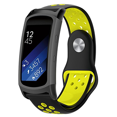 SongNi for Samsung Gear Fit 2/Gear Fit2 PRO Watch Cinturino,Soft Silicone Sport Replacement Strap Cinturino for for Samsung Fit2 PRO SM-R365 And Gear Fit2 SM-R360 SmartWatch(Black+Yellow)