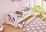 Best For Kids Kinderbett 70x160 mit Rausfallschutz + Schublade 44 Designs (Unicorn)