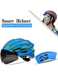 Inteligente Casco de equitación que moldea el casco de seguridad del casco de carretera ajustable bici de montaña del casco de ciclista con los anteojos magnéticos y altavoz Bluetooth (Azul)