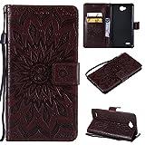 COWX Leder Kreditkarten Brieftasche Handy Schutzhülle für LG Electronics X Power II Hülle Tasche Flip Case Cover (Braun)