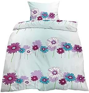 2-tlg. Microfaser Bettwäsche 135x200 + 80x80cm mit Reißverschluss, Sommerbettwäsche, Bügelfrei - Blumen / Sommer Bettwäsche