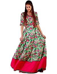 f11e05a524 Angel s Fashion Women Cotton Floral Print Anarkali Gown
