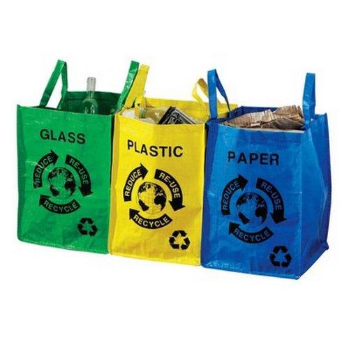 Juego de 3bolsas de basura para reciclar vidrio