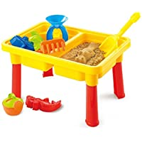 Toys Bhoomi 2-in-1 Beach Toy Water & Sand Play Table for Kids Activity Play Centre Games - Included 8 Accessories