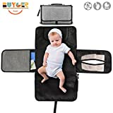 Buyger Portable Baby Changing Mat for Travel and Outside Soft and Waterproof with Storage Nappies and Wipes Lightweight Bag (Dark Grey)
