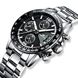 Best Chronograph Watches - Mens Chronograph Stainless Steel Watches Men Sports Waterproof Review