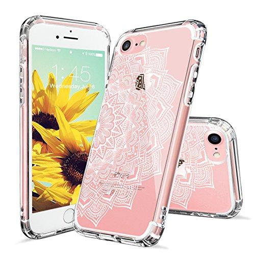 Cover iPhone 7, MOSNOVO Cover iPhone 7 Trasparente con Disegni Bianco Henna Mandala Pizzo Fiori TPU Bumper con Rigida Trasparente Sottile Cover per Apple iPhone 7 (4.7 Pollici) (Half White Mandala) Mandalas