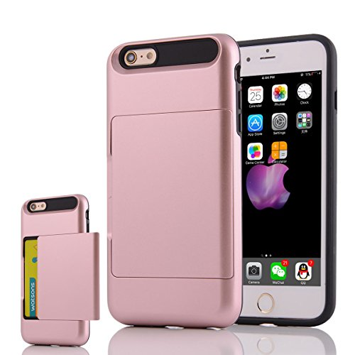 """HYAIT® For IPHONE 6 PLUS 5.5"""" Case[Credit Card Slots][Shockproof] Dual Layer Hybrid Armor Rugged Plastic Hard Shell Flexible TPU Bumper Protective Cover-BHE06 BHE05"""