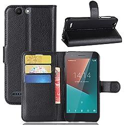 Custodia Vodafone Smart E8, Frlife Custodia Portafoglio in pu Pelle, Portafoglio Cover con Porta Carte, Funzione Stand, Chiusura Magnetica Per Vodafone Smart E8 smartphone Nero