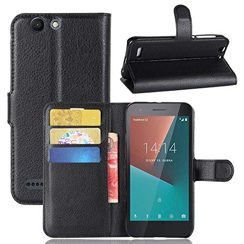 Vodafone Smart E8 Hülle,Frlife | Bookstyle Handyhülle Premium PU-Leder klapptasche Case Brieftasche Etui Schutz Hülle für Vodafone Smart E8 Schwarz