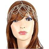 Head Jewelry ~Goldtone Bohemian Draped Round Head Chain Hair Band (IHC1033-GLD)